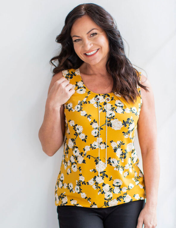 Floral Bubble Hem Sleeveless Top, Yellow, hi-res
