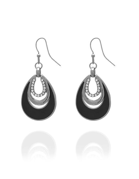 Black Teardrop Earring With Crystal, Black, hi-res