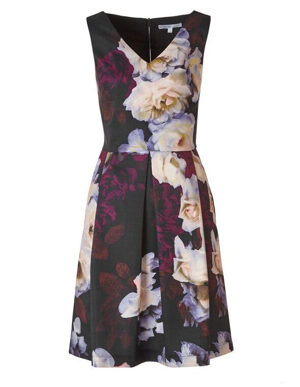 Black Floral Dress with Pockets, Black, hi-res