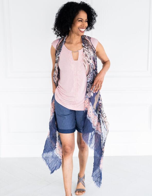 Blue Printed Kimono Vest, Blue/Pink, hi-res