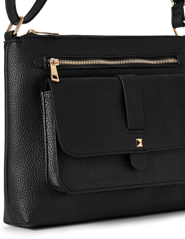 Black Flap Cross Body Bag, Black, hi-res