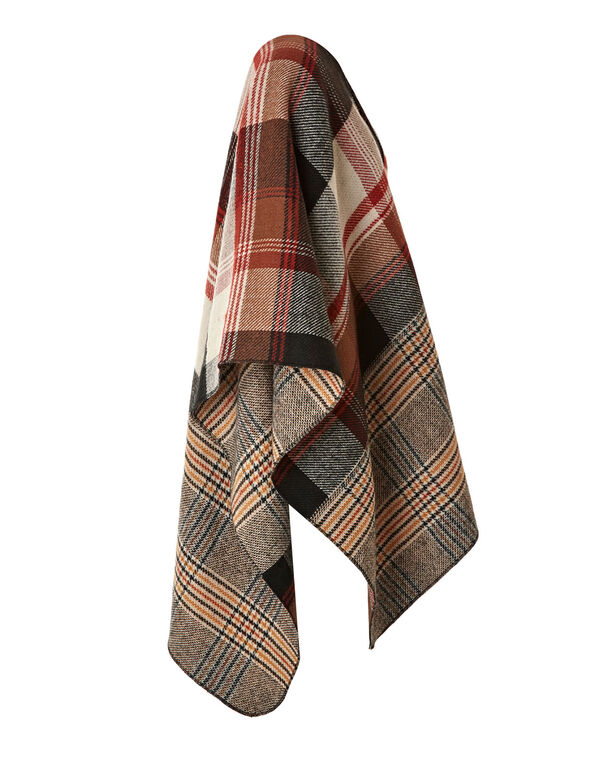 Brown Plaid Double Face Wrap, Brown, hi-res
