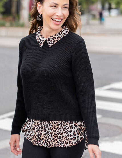 Black Leopard Fooler Sweater, Black, hi-res