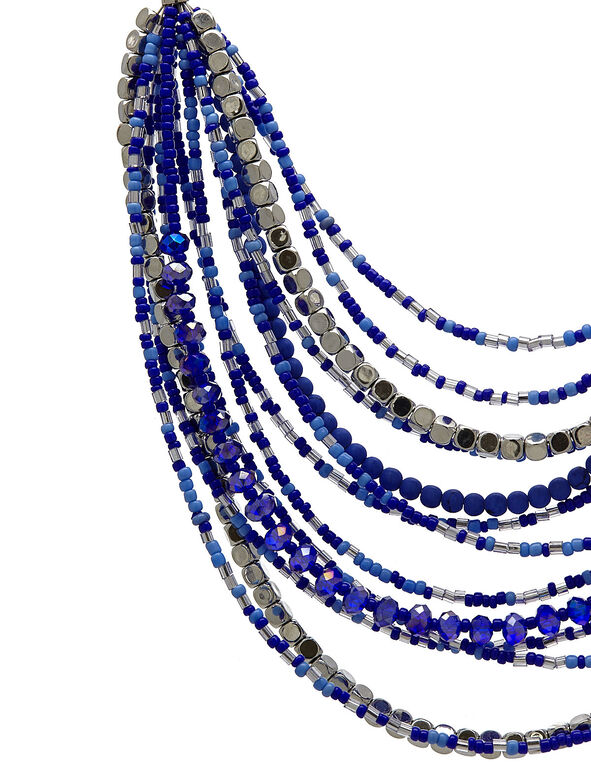 Blue Bead Short Statement Necklace, Blue, hi-res