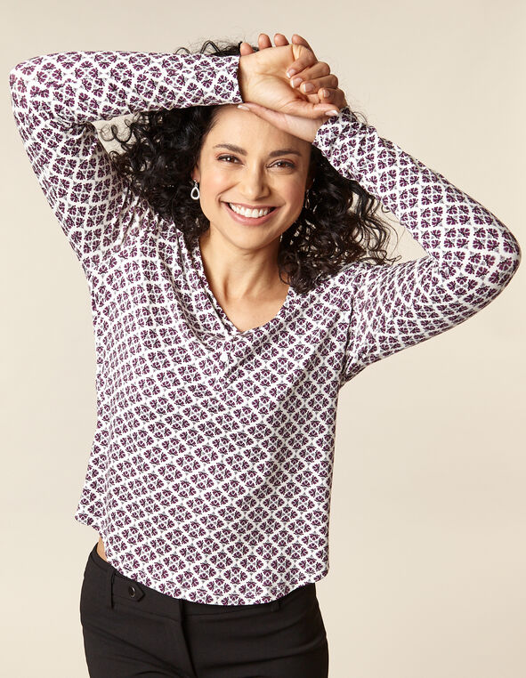 Berry Printed Long Sleeve Top, Purple/Berry, hi-res