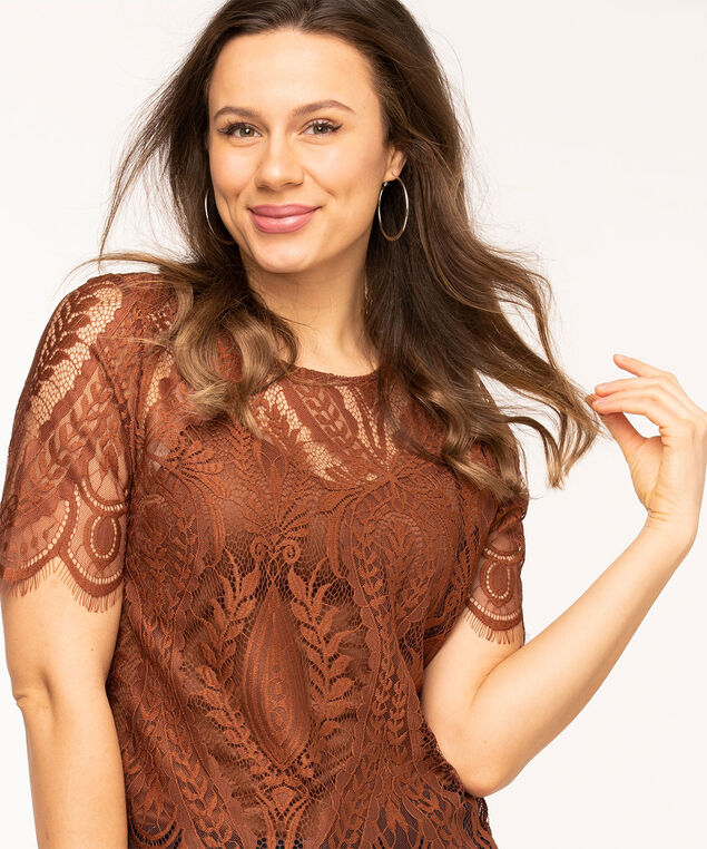 Copper Lace Overlay Top, Copper