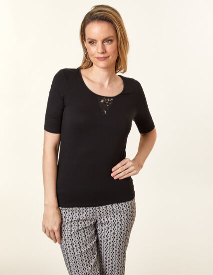 Lace Keyhole Top, Black, hi-res