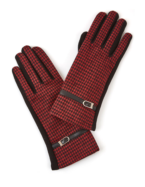 Red Houndstooth Text Gloves, Red, hi-res