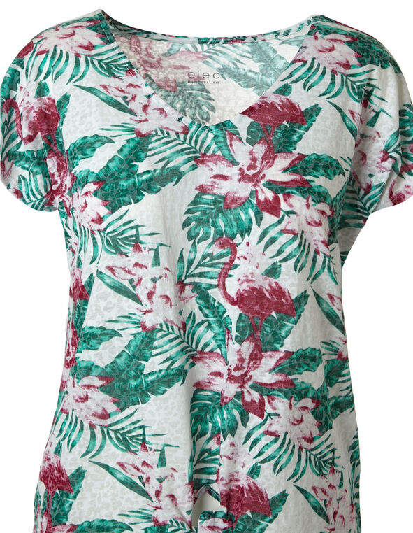 Green Floral Burnout Tee, Green/Pink, hi-res