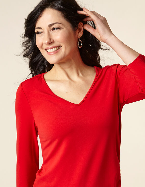 Poppy Ruched Waist Top, Red, hi-res
