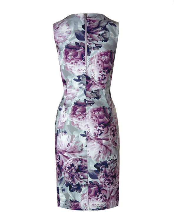 Purple Floral Sheath Dress, Purple, hi-res