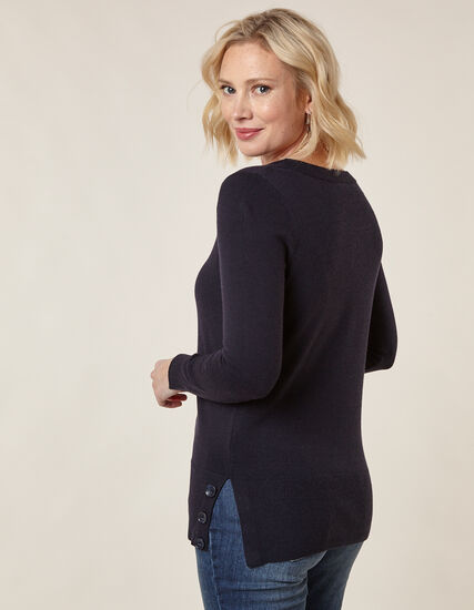 Navy Button Detail Sweater, Navy, hi-res