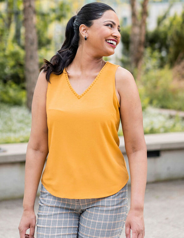 Ochre Crepe Front Blouse, Mustard, hi-res