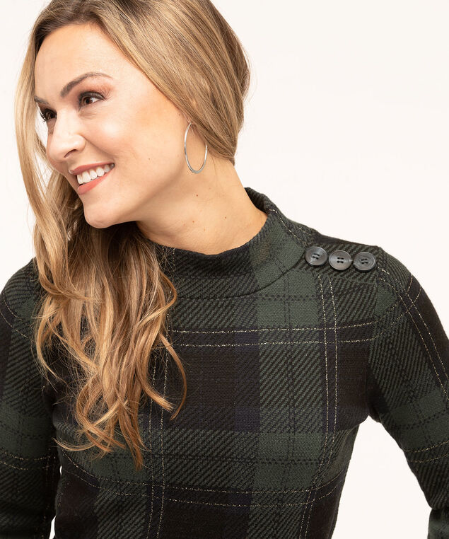 Blackwatch Button Detail Sweater, Forest Green/Navy/Black, hi-res