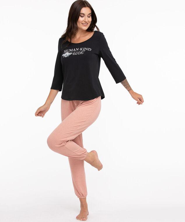 Super Soft 3/4 Sleeve Pyjama Top, Black/Taupe/White