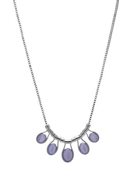 Purple Teardrop Statement Necklace, Silver/Purple, hi-res