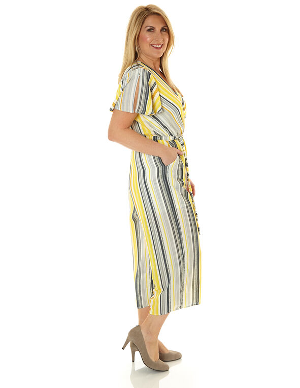 Yellow Striped Jumpsuit, Yellow, hi-res