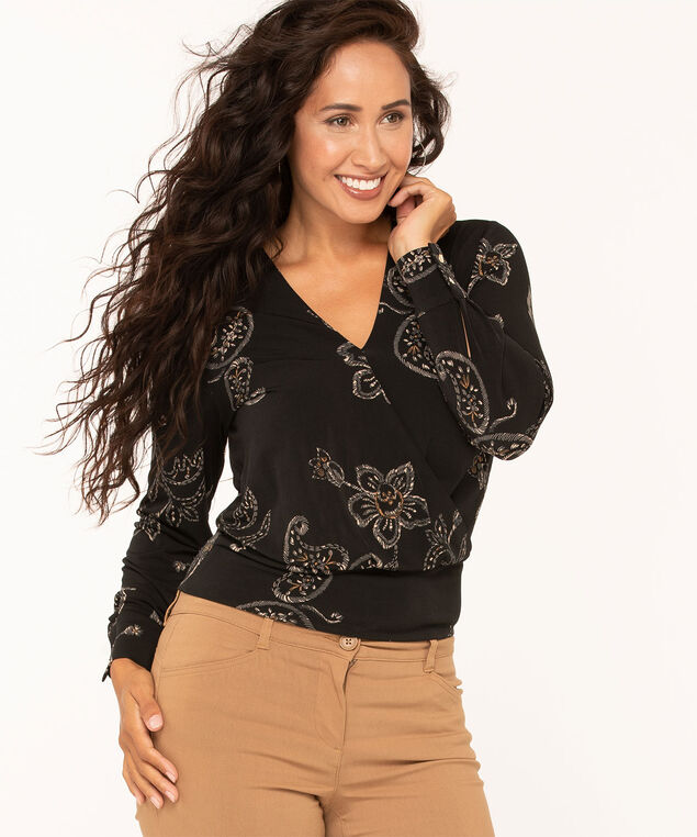 Wrap Front Knit Top, Rust