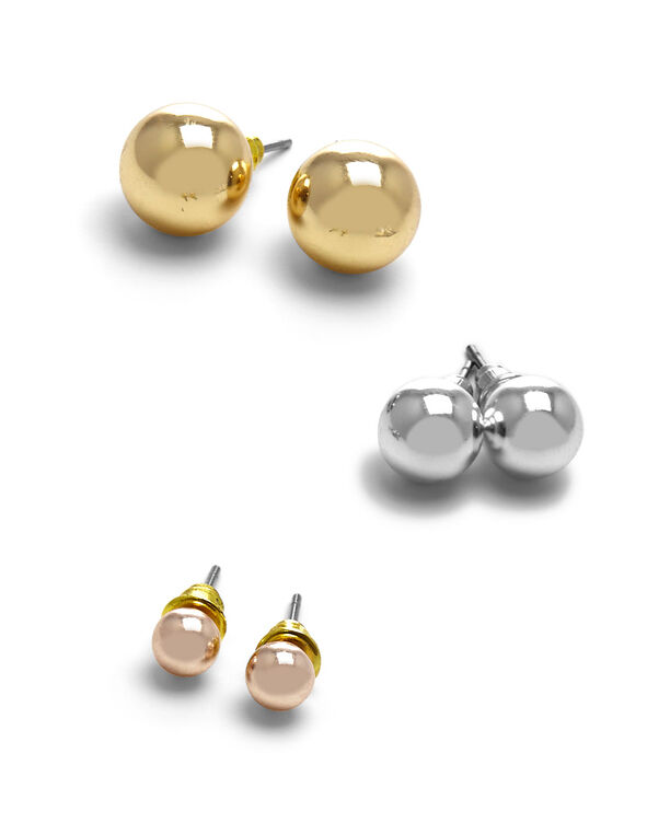 Tri Metal Pearl Earring Trio Set, Gold/Silver/Rose Gold, hi-res