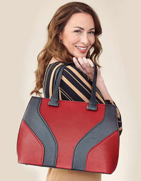 Red Colour Block Lady Bag, Red, hi-res