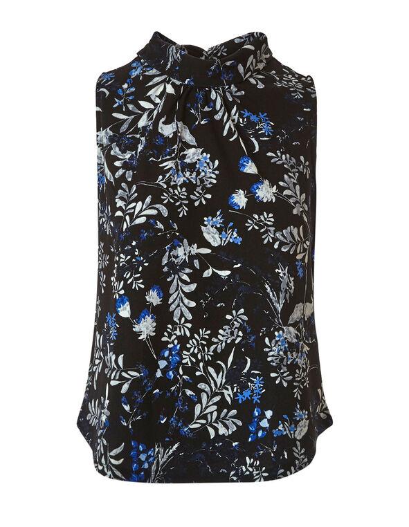 Sapphire Floral Crepe Top, Black/Blue, hi-res