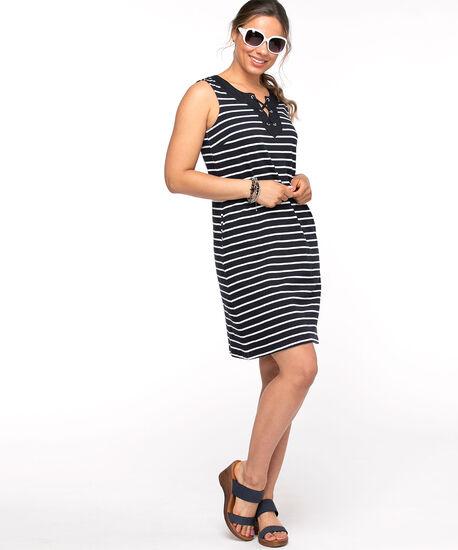 Cotton Tie Neck Slub Dress, Navy/White Stripe, hi-res