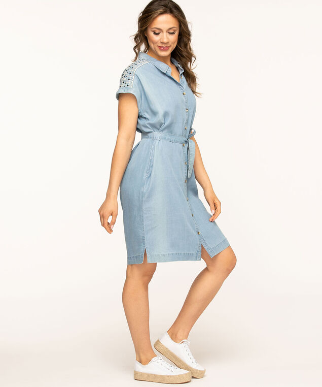 Chambray Embroidered Detail Dress, Chambray