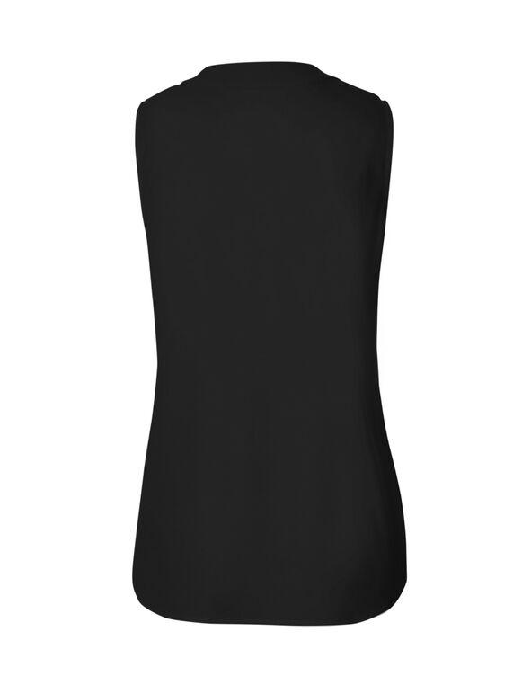 Black Sleeveless Blouse, Black, hi-res