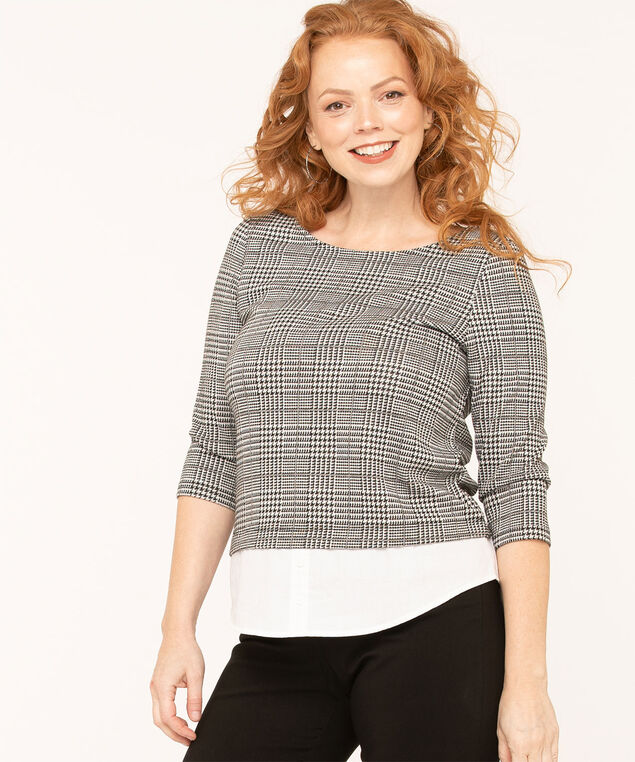 Houndstooth Fooler Knit Top, Black/Grey/White