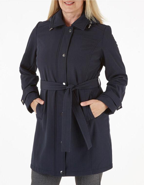 Navy Softshell Trench Coat, Navy, hi-res