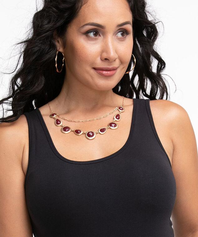 Oxblood Stone Necklace, Gold/Oxblood