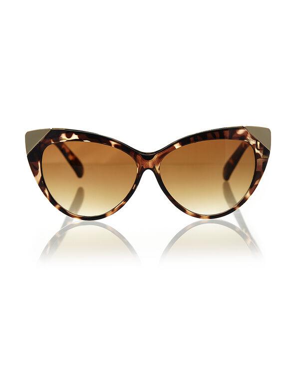 Tortoise Shell Cat Eye Sunglasses, Brown/Gold, hi-res