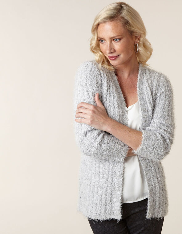 Light Grey Eyelash Cardigan, Grey, hi-res