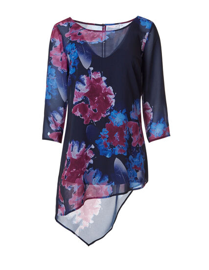 Navy Asymmetrical Tunic Blouse, Navy/Sangria, hi-res