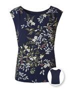 Navy Floral Reversible Blouse, Navy, hi-res