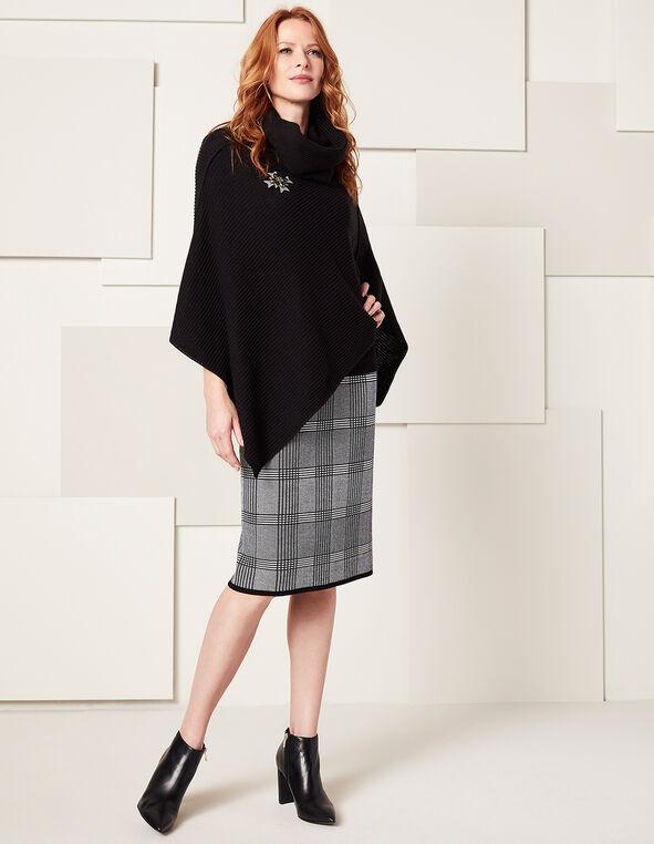 Grey Plaid Sweater Skirt, Grey Plaid, hi-res