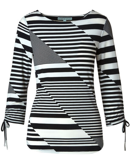 Black & Ivory Striped Top, Black/Ivory, hi-res