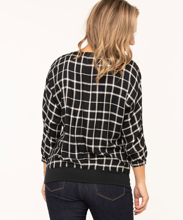 Plaid Banded Bottom Blouse, Dark Navy/White, hi-res