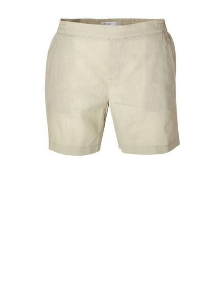 Tan Linen Cotton Blend Short, Tan, hi-res