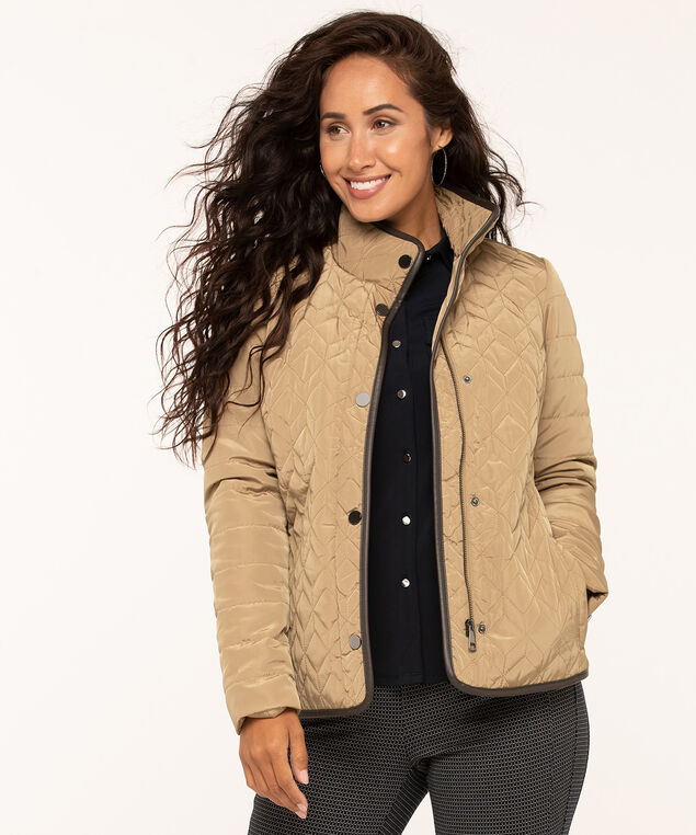 Camel Quilted Coat, Camel, hi-res