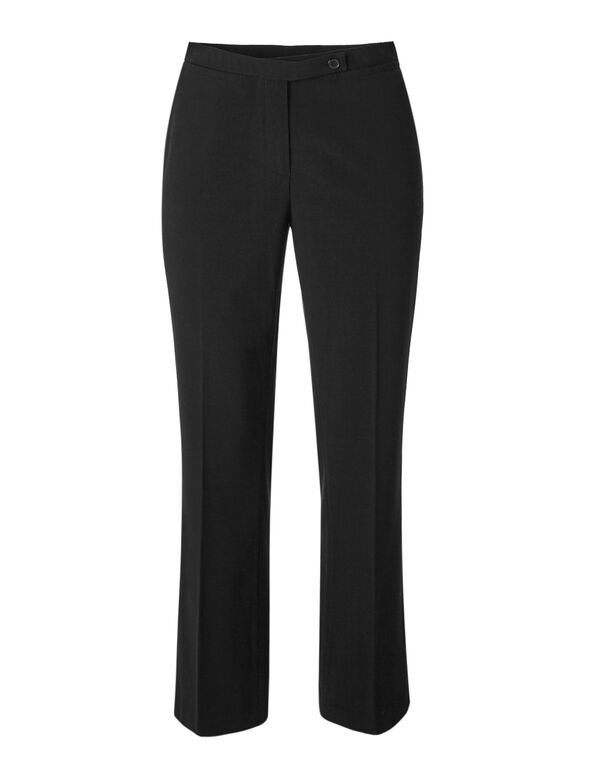 Black Cotton Straight Leg Pant, Black, hi-res