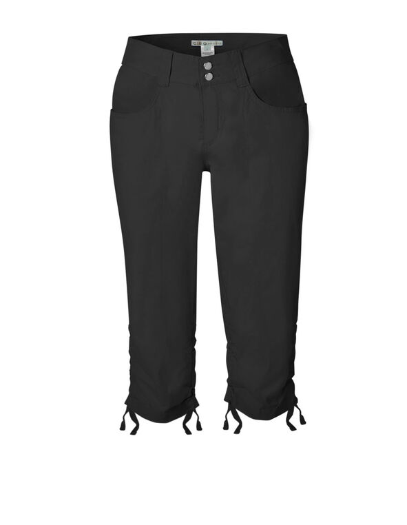 Black Ruched Poplin Capri, Black, hi-res