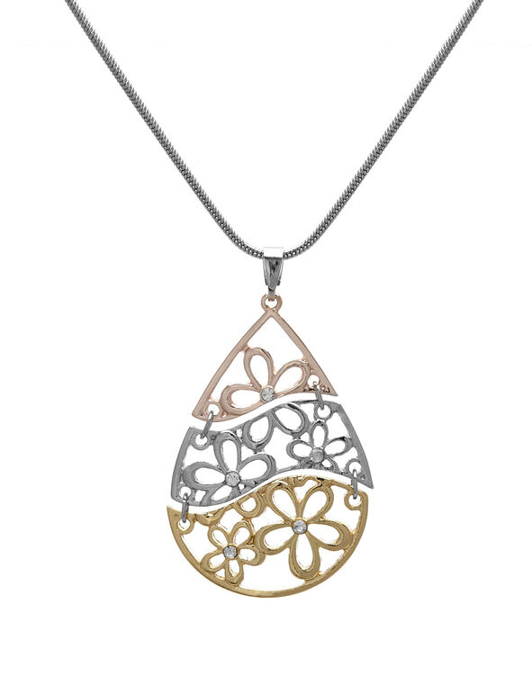 Tri Metal Laser Cut Necklace, Rose Gold/Silver/Gold, hi-res