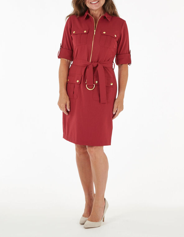 Merlot Zipper Front Cargo Dress, Merlot, hi-res