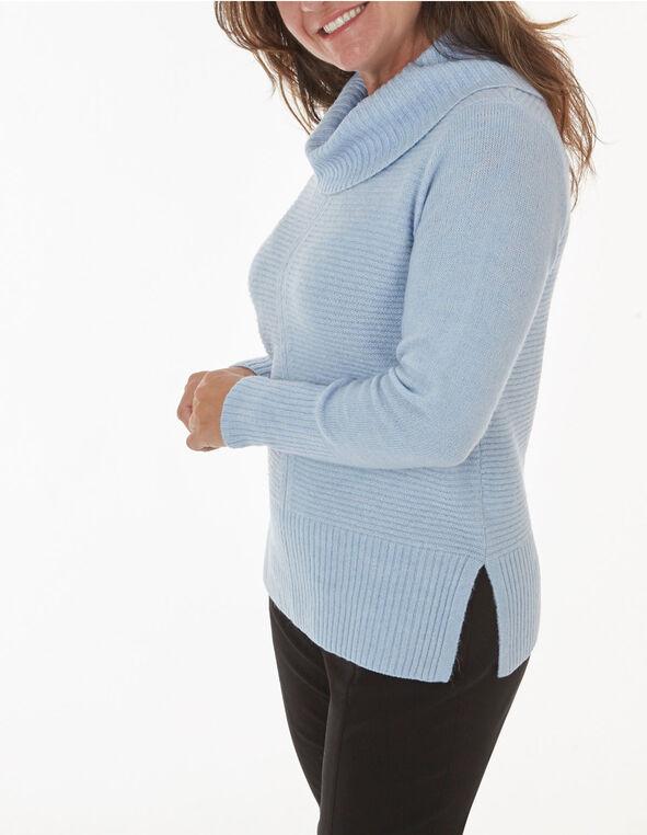Blue Rib Stitch Sweater, Blue, hi-res