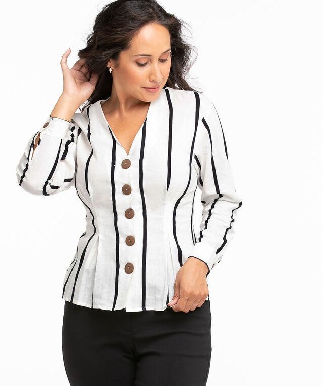 Linen Button Front Blouse, Ivory/Black Stripe