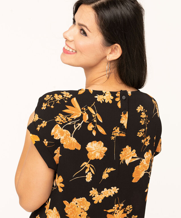 Short Sleeve Scoop Neck Blouse, Black/Gold, hi-res