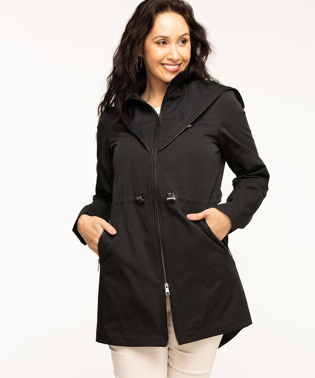 Black Hooded Zip Front Anorak, Black