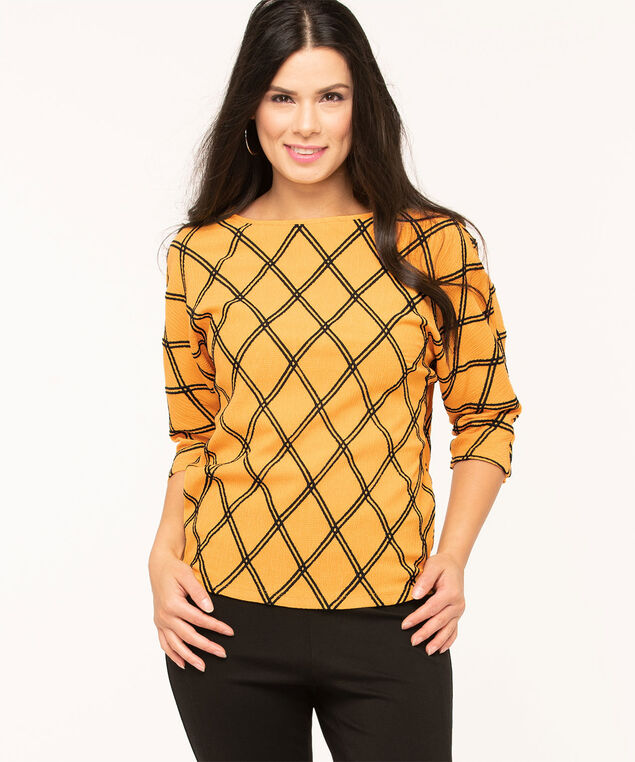 Gold Diamond Plaid Textured Blouse, Gold/Black