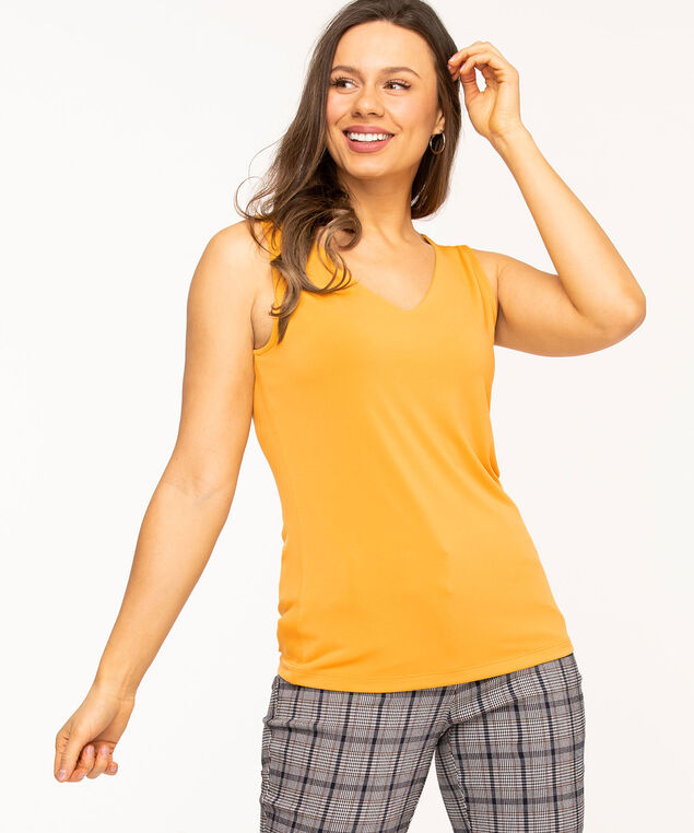 V-Neck Essential Layering Tank, Gold
